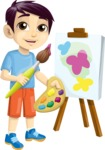 School vector graphics pack - editable schoolboy, schoolgirl, pupil, teacher characters, items, icons, illustrations, backgrounds, scenes - School Kid Painting