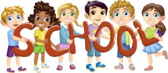 School vector graphics pack - editable schoolboy, schoolgirl, pupil, teacher characters, items, icons, illustrations, backgrounds, scenes - Pupils Holding Letters