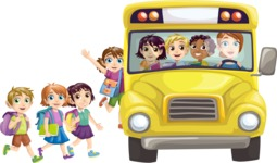 School vector graphics pack - editable schoolboy, schoolgirl, pupil, teacher characters, items, icons, illustrations, backgrounds, scenes - Students Getting in School Bus