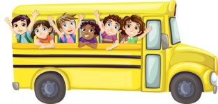 School vector graphics pack - editable schoolboy, schoolgirl, pupil, teacher characters, items, icons, illustrations, backgrounds, scenes - Yellow Bus With Students