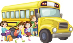 School vector graphics pack - editable schoolboy, schoolgirl, pupil, teacher characters, items, icons, illustrations, backgrounds, scenes - Pupils Getting Into Yellow Bus