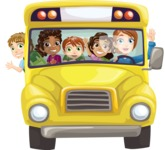 School vector graphics pack - editable schoolboy, schoolgirl, pupil, teacher characters, items, icons, illustrations, backgrounds, scenes - Yellow Bus Full of Kids