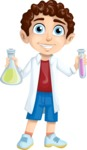 School vector graphics pack - editable schoolboy, schoolgirl, pupil, teacher characters, items, icons, illustrations, backgrounds, scenes - Chemistry Student Boy