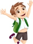 School vector graphics pack - editable schoolboy, schoolgirl, pupil, teacher characters, items, icons, illustrations, backgrounds, scenes - Jumping School Boy