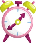 School vector graphics pack - editable schoolboy, schoolgirl, pupil, teacher characters, items, icons, illustrations, backgrounds, scenes - Alarm Clock