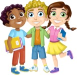 School vector graphics pack - editable schoolboy, schoolgirl, pupil, teacher characters, items, icons, illustrations, backgrounds, scenes - Group of Students