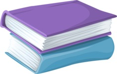 School vector graphics pack - editable schoolboy, schoolgirl, pupil, teacher characters, items, icons, illustrations, backgrounds, scenes - Pile of Books
