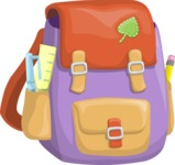 School vector graphics pack - editable schoolboy, schoolgirl, pupil, teacher characters, items, icons, illustrations, backgrounds, scenes - School Backpack with a Sticker