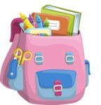 School vector graphics pack - editable schoolboy, schoolgirl, pupil, teacher characters, items, icons, illustrations, backgrounds, scenes - School Backpack for Girls