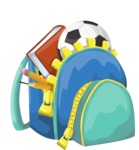School vector graphics pack - editable schoolboy, schoolgirl, pupil, teacher characters, items, icons, illustrations, backgrounds, scenes - School Backpack for Boys