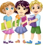 School vector graphics pack - editable schoolboy, schoolgirl, pupil, teacher characters, items, icons, illustrations, backgrounds, scenes - students with books