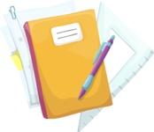 School vector graphics pack - editable schoolboy, schoolgirl, pupil, teacher characters, items, icons, illustrations, backgrounds, scenes - Notebook and School Tools