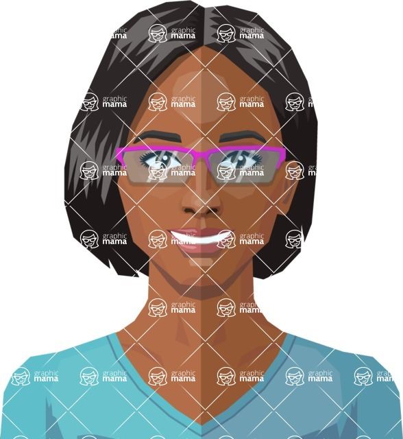 Female Low Poly Character Creator - vector woman flat design black hair glasses