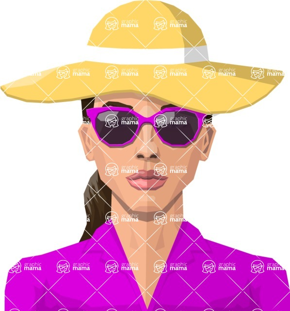 DIY Low Poly Geometric Characters: Women - vector woman flat design long hair glasses sunhat