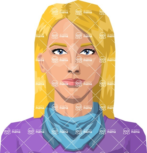 Female Low Poly Character Creator - vector woman flat design blonde with scarf