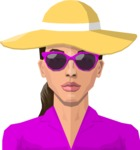 Female Low Poly Character Creator - vector woman flat design long hair glasses sunhat