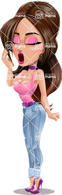 Attractive Young Woman Cartoon Vector Character AKA Alessia - Bored 2
