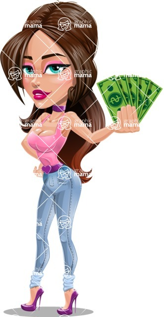 Attractive Young Woman Cartoon Vector Character AKA Alessia - Show me the money