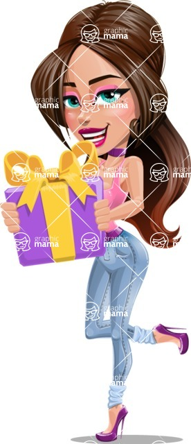 Attractive Young Woman Cartoon Vector Character AKA Alessia - Gift