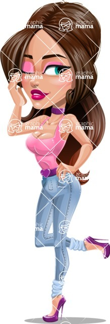 Attractive Young Woman Cartoon Vector Character AKA Alessia - Pose 2