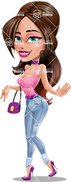 Attractive Young Woman Cartoon Vector Character AKA Alessia - Lifting Dress