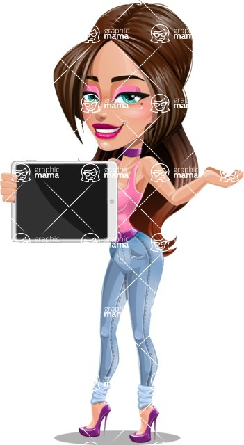 Attractive Young Woman Cartoon Vector Character AKA Alessia - Tablet 1