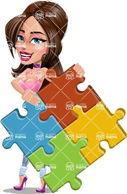 Attractive Young Woman Cartoon Vector Character AKA Alessia - Puzzle