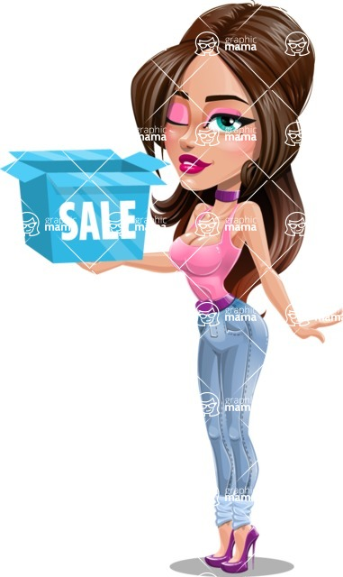 Attractive Young Woman Cartoon Vector Character AKA Alessia - Sale 3