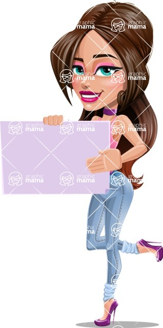 Attractive Young Woman Cartoon Vector Character AKA Alessia - Sign 3