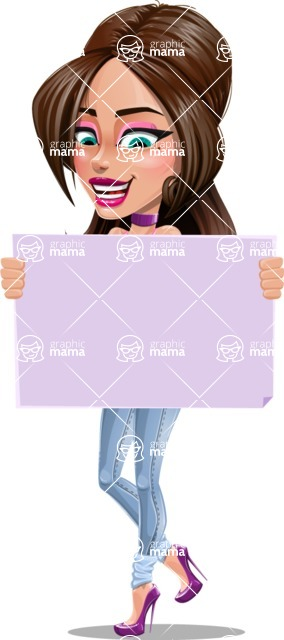 Attractive Young Woman Cartoon Vector Character AKA Alessia - Sign 4