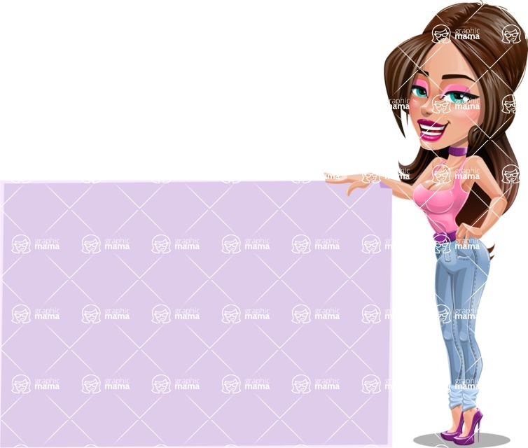 Attractive Young Woman Cartoon Vector Character AKA Alessia - Sign 9