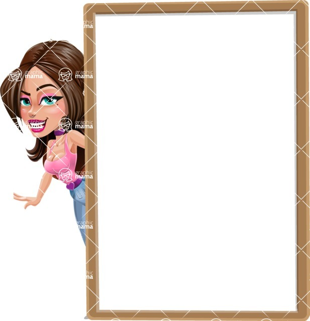 Attractive Young Woman Cartoon Vector Character AKA Alessia - Presentation 3