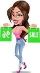 Attractive Young Woman Cartoon Vector Character AKA Alessia - Sale 2