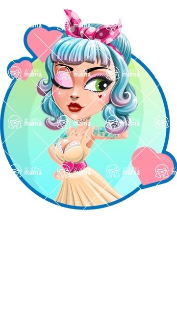 Pin Up Girl Cartoon Vector Character AKA Minty Curl - Shape 2
