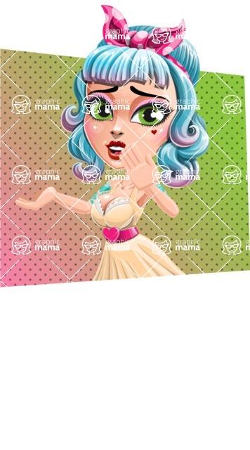 Pin Up Girl Cartoon Vector Character AKA Minty Curl - Shape 3