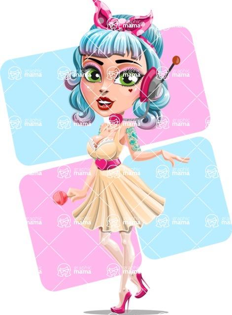Pin Up Girl Cartoon Vector Character AKA Minty Curl - Shape 7