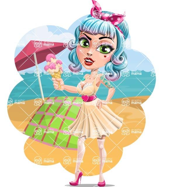 Pin Up Girl Cartoon Vector Character AKA Minty Curl - Shape 9