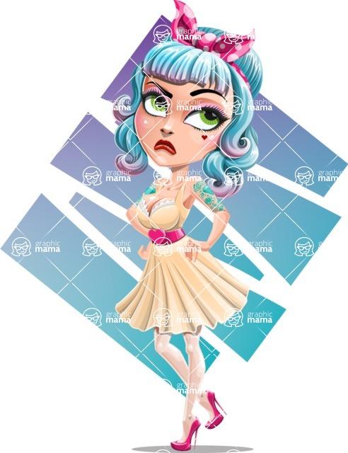 Pin Up Girl Cartoon Vector Character AKA Minty Curl - Shape 11