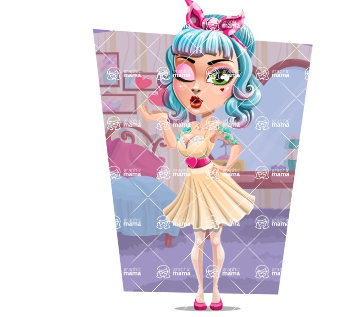 Pin Up Girl Cartoon Vector Character AKA Minty Curl - Shape 12