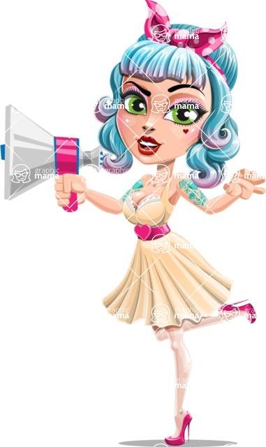 Pin Up Girl Cartoon Vector Character AKA Minty Curl - Loudspeaker