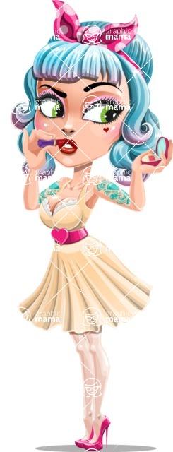 Pin Up Girl Cartoon Vector Character AKA Minty Curl - Makeup 1