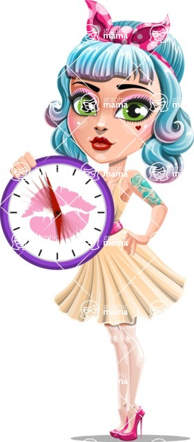 Pin Up Girl Cartoon Vector Character AKA Minty Curl - Time
