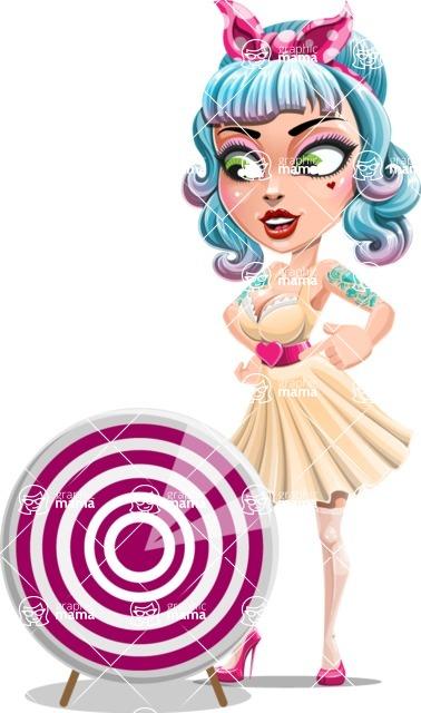Pin Up Girl Cartoon Vector Character AKA Minty Curl - Target