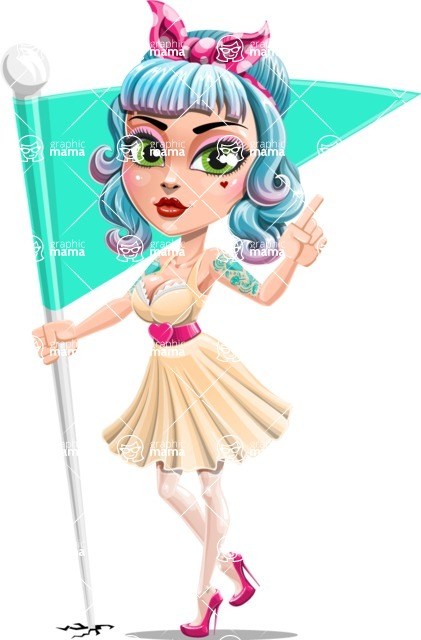 Pin Up Girl Cartoon Vector Character AKA Minty Curl - Checkpoint