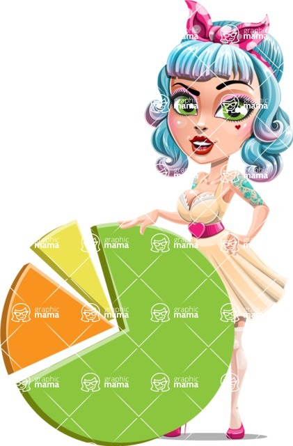 Pin Up Girl Cartoon Vector Character AKA Minty Curl - Chart