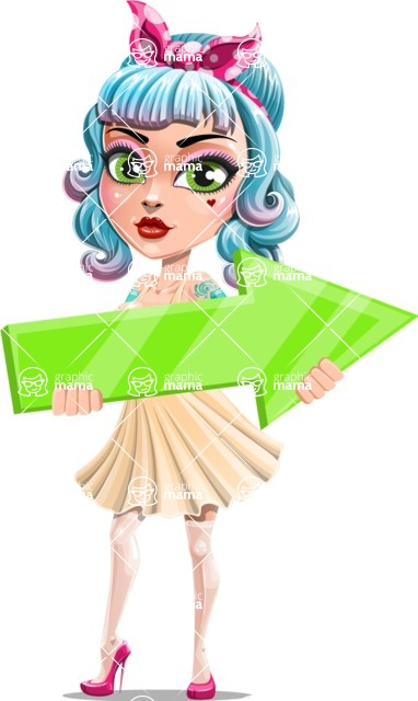 Pin Up Girl Cartoon Vector Character AKA Minty Curl - Arrow 2