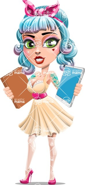 Pin Up Girl Cartoon Vector Character AKA Minty Curl - Book or Tablet