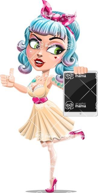 Pin Up Girl Cartoon Vector Character AKA Minty Curl - Tablet 2