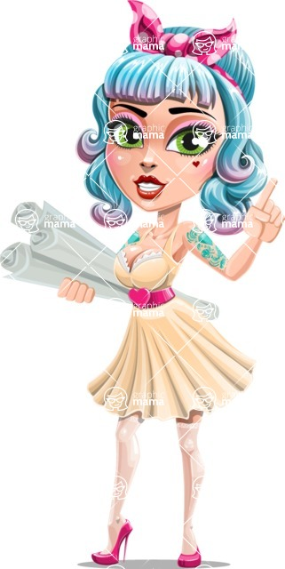 Pin Up Girl Cartoon Vector Character AKA Minty Curl - Plans