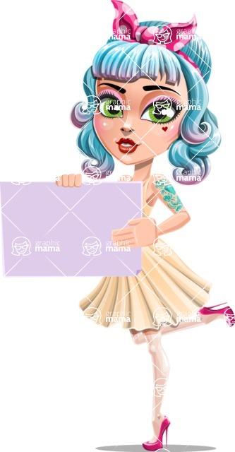 Pin Up Girl Cartoon Vector Character AKA Minty Curl - Sign 3